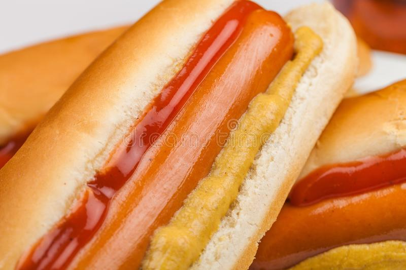 Hot Dogs. Sausages ketchup bread food hotdogs mustard stock photography