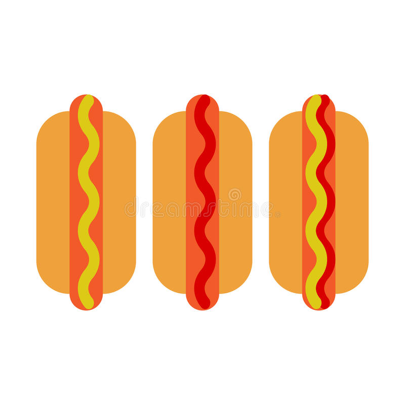 Hot-dogs icône plate, signe de vecteur, pictogramme coloré d'isolement sur le blanc illustration de vecteur