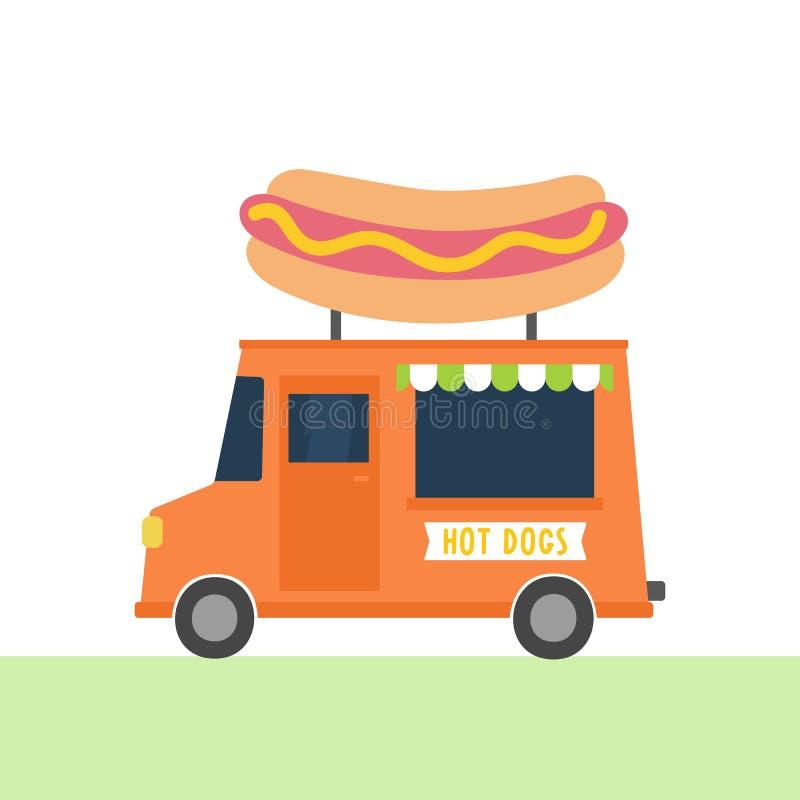 Hot dogs truck. stock illustration