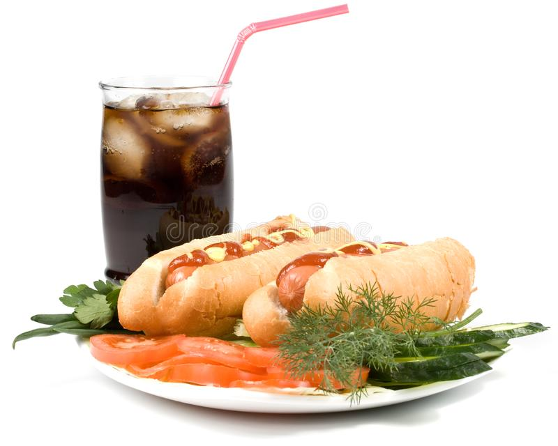 Hot dogs with vegetables stock image