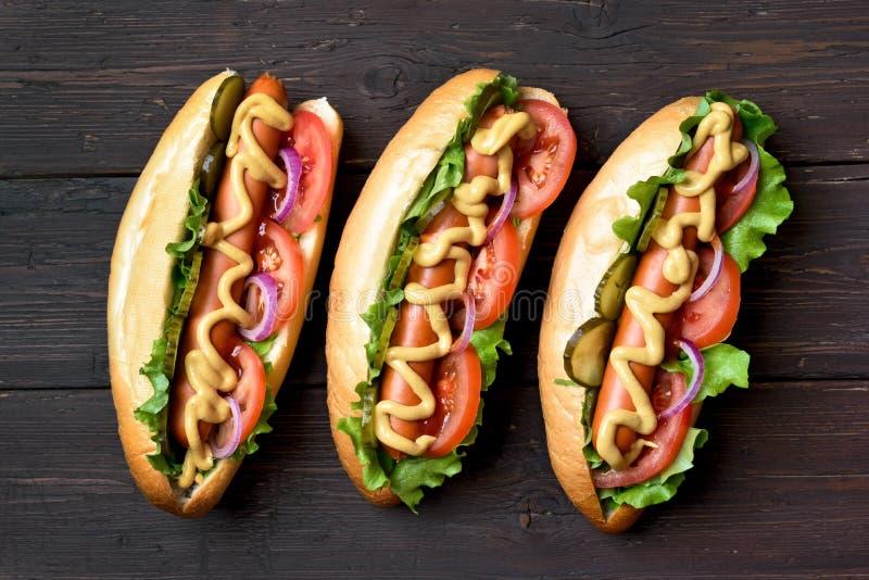 Hot-dogs, vue supérieure photographie stock libre de droits