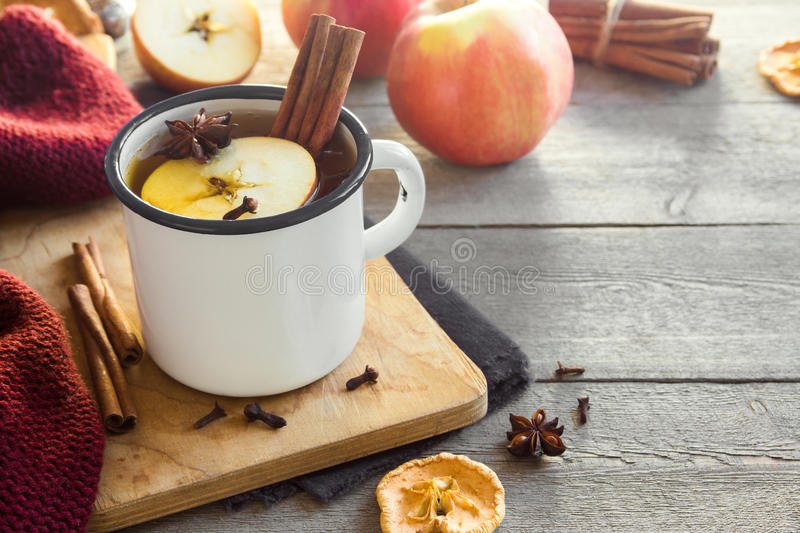 Hot drink with apples royalty free stock images