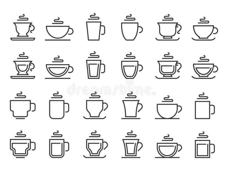 Hot drink cup outline icon. Coffee cups line pictogram, cocoa and tea mug vector icon set royalty free illustration