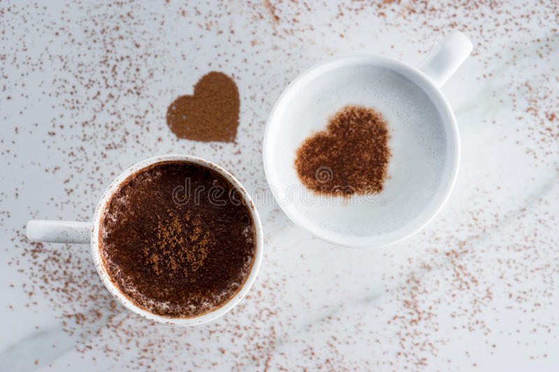 Hot drink with heart shape cocoa royalty free stock photography