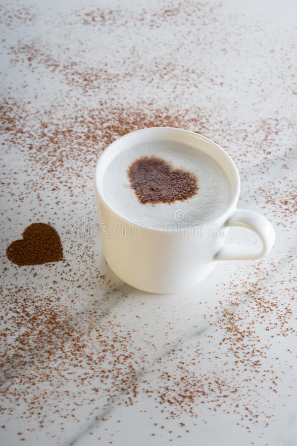 Hot drink with heart shape cocoa royalty free stock photos