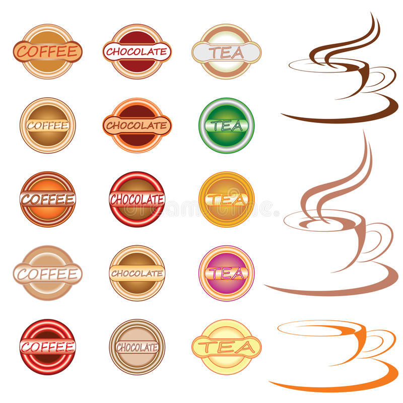 Hot drink labels and icons stock illustration