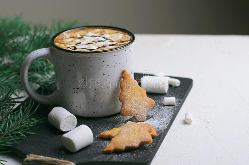 Hot Drink with Marshmallow and Christmas Cookies, Mug of Cocoa or Coffee Beverage royalty free stock photos