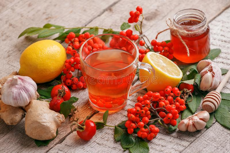 Hot drink, tea with ginger, lemon, honey. Winter healthy tea for immunity boosting and treatment of colds, seasonal fall autumn. Beverage, alternative meidicine stock photos