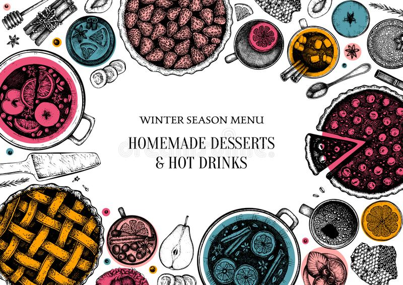 Hot drinks, homemade pies and desserts trendy design. Winter food and drinks top view. Hand drawn Christmas dishes frame template. With mulled wine, hot stock illustration