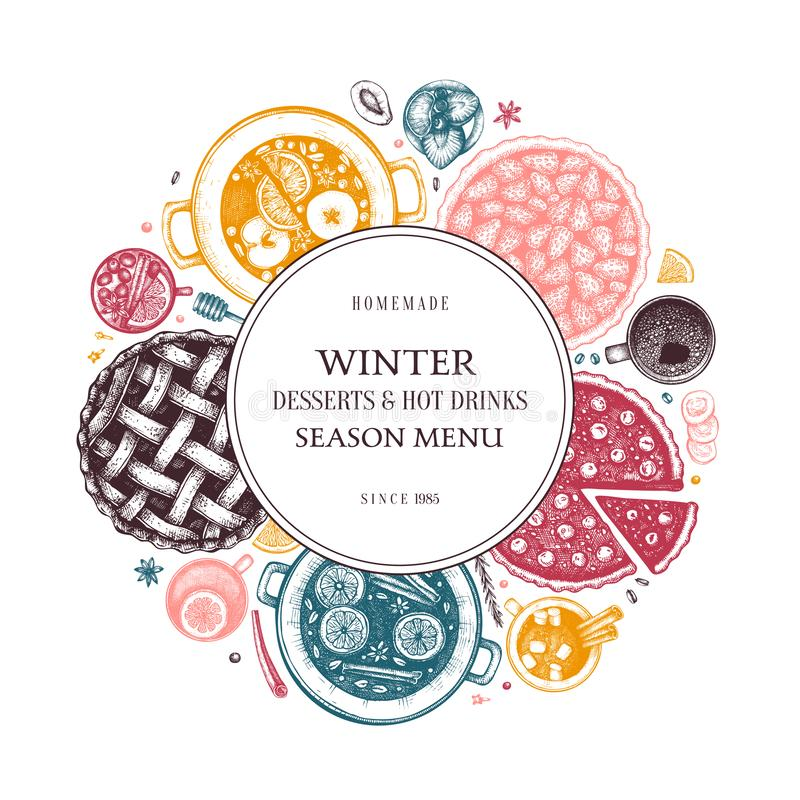 Hot drinks, homemade pies and desserts wreath template. Winter food and drinks top view. Hand drawn Christmas dishes design. With. Mulled wine, hot chocolate vector illustration