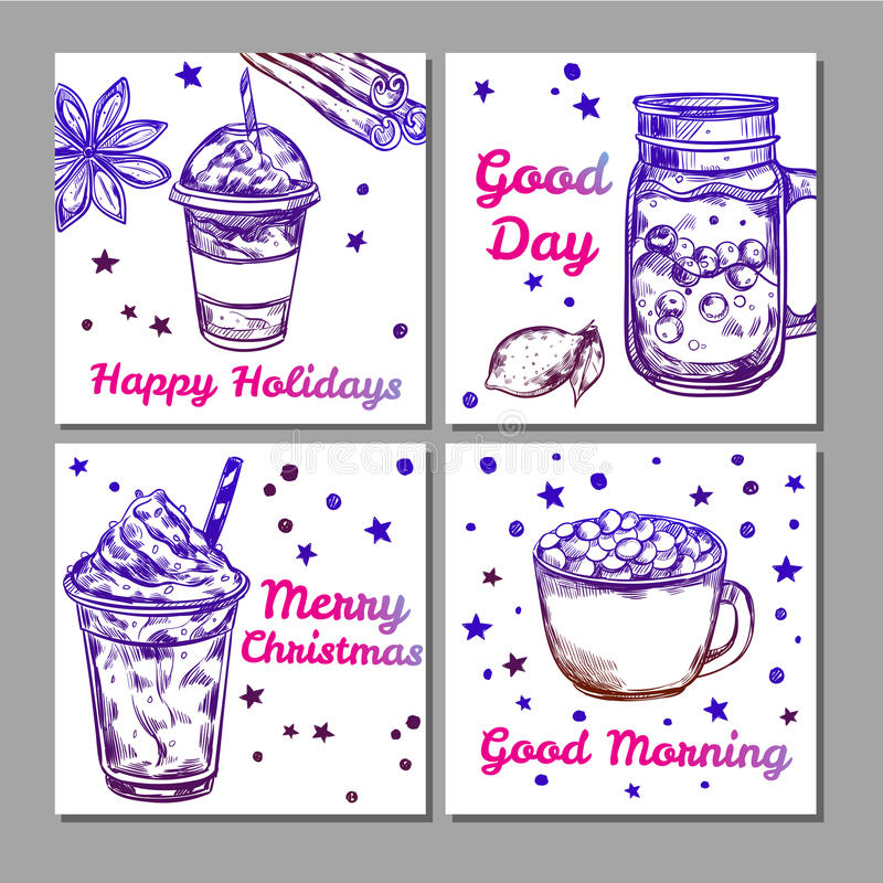 Hot Drinks Icon Set stock illustration