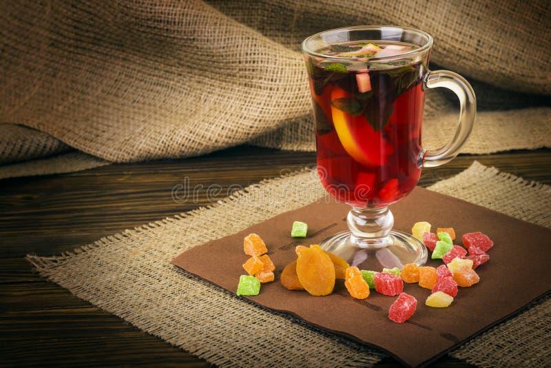 Hot drinks, red tea, mint stock photos