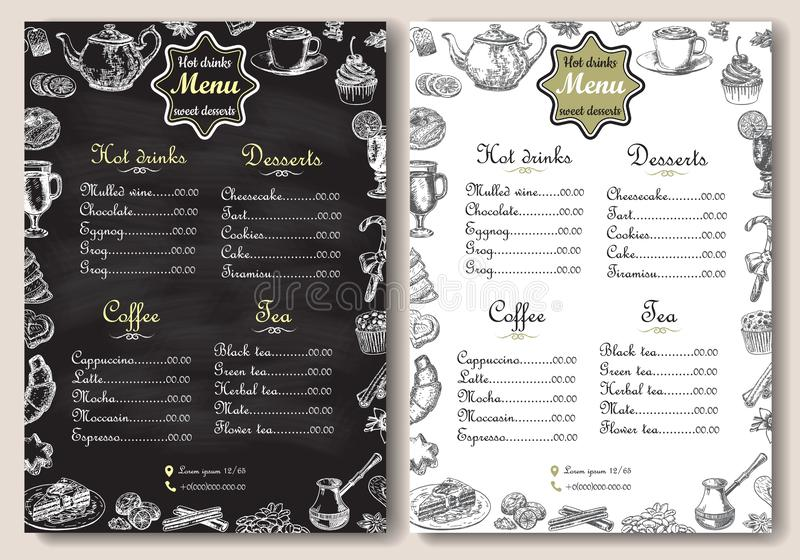 Hot drinks and sweet desserts A4 menu vector template. Hot drinks and sweet desserts menu vector template. Chalk drawing A4 paper format menu for coffee shop vector illustration
