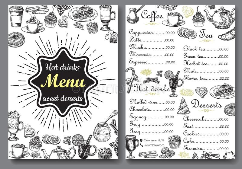 Hot drinks and sweet desserts A4 menu vector template. Hot drinks and sweet desserts menu vector template. Front and back A4 paper format menu, hand drawn design stock illustration