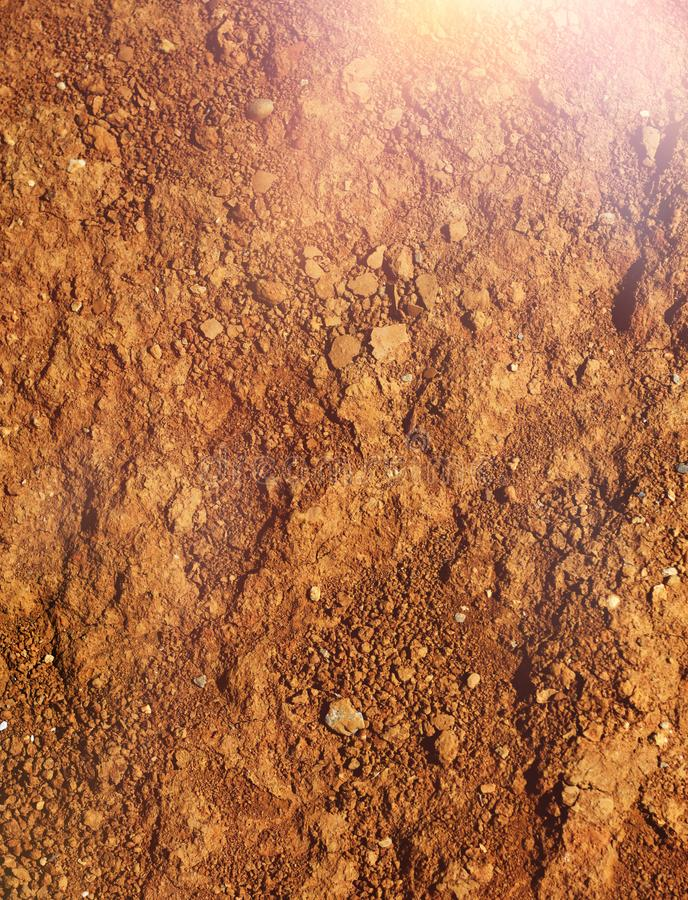 Hot and dry agricultural brown soil stock photo
