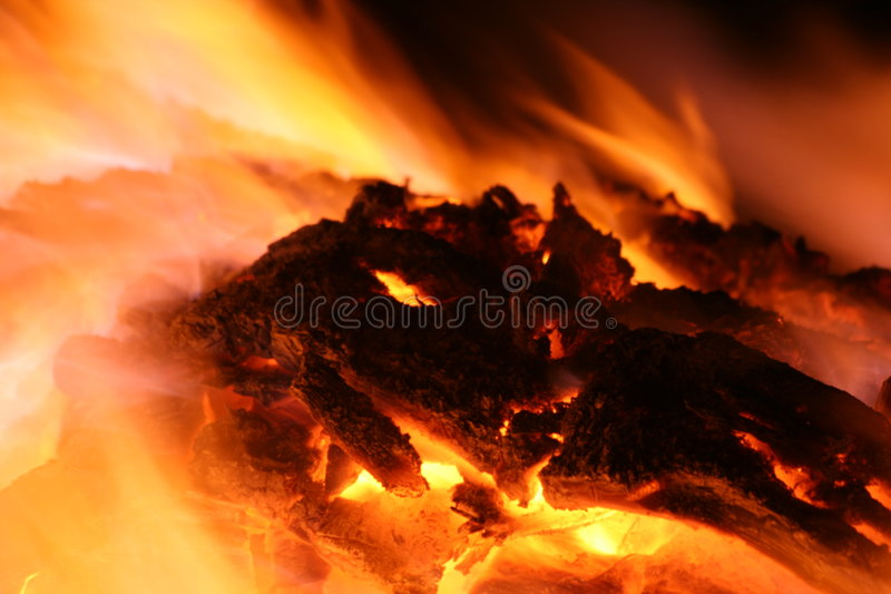 Hot embers in burning fire royalty free stock images