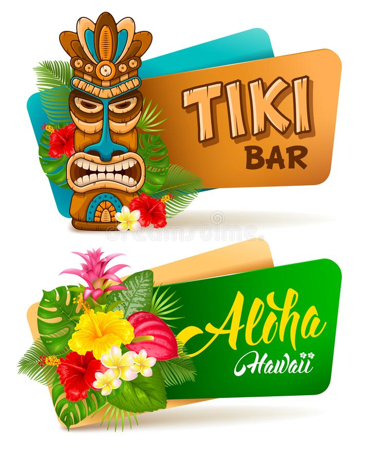 Aloha Tiki bar banners set. Hot and exotic tropics. Banners set with tiki mask and tropical plants and flowers. Vector illustration. Isolated on white background royalty free illustration