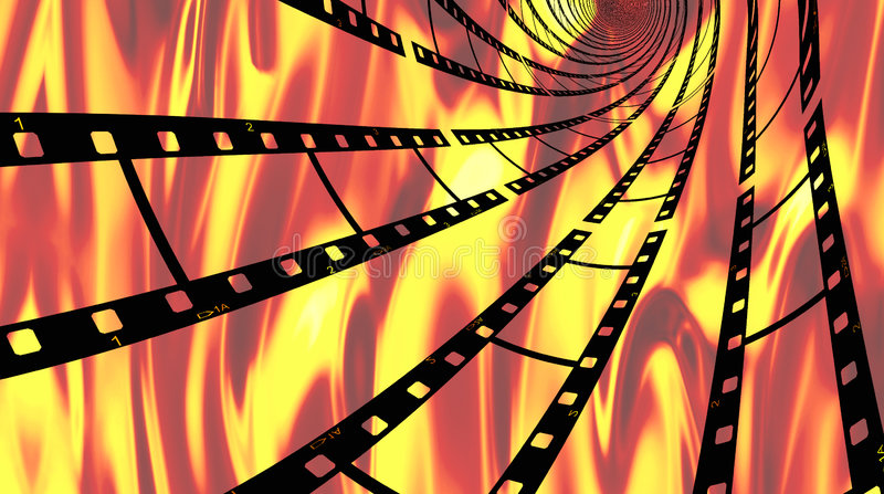 Hot film. Spiraling filmstrips with hot flames of fire background in orange, yellows, and reds stock illustration