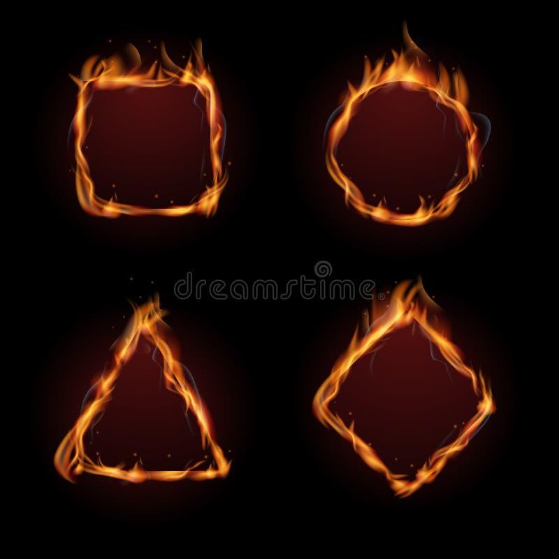 Hot fire flame frame vector set stock illustration