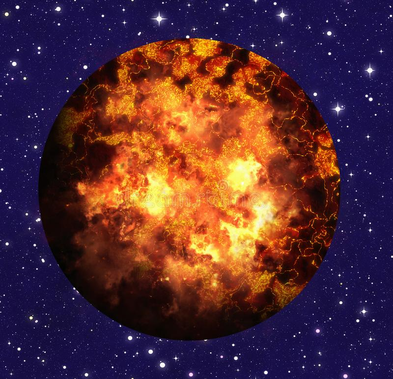 Hot fire planet on space stars backgrounds. Hot fire planet on space stars background stock illustration