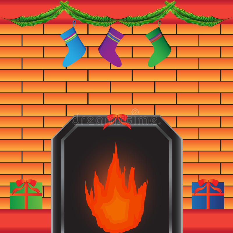 Download Hot Fireplace With Present Royalty Free Stock Photo - Image: 21854495