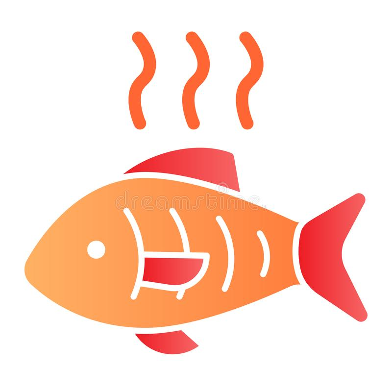Hot fish flat icon. Grilled fish color icons in trendy flat style. Fry seafood gradient style design, designed for web. And app. Eps 10 vector illustration