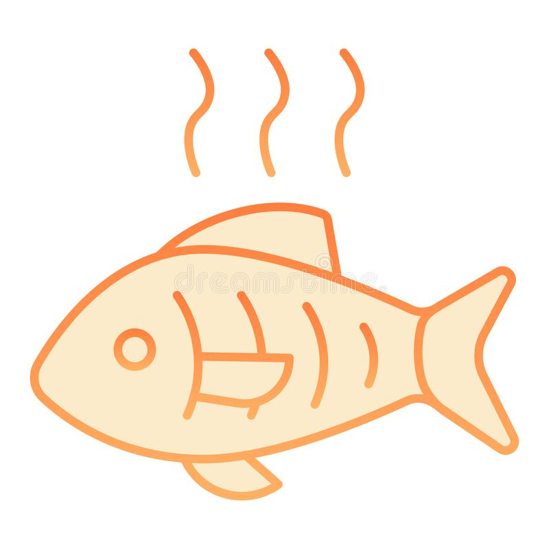 Hot fish flat icon. Grilled fish orange icons in trendy flat style. Fry seafood gradient style design, designed for web. And app. Eps 10 stock illustration