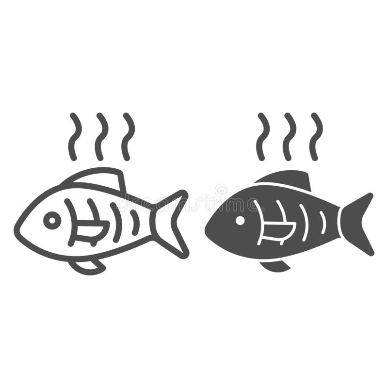Hot fish line and glyph icon. Grilled fish vector illustration isolated on white. Fry seafood outline style design. Designed for web and app. Eps 10 vector illustration