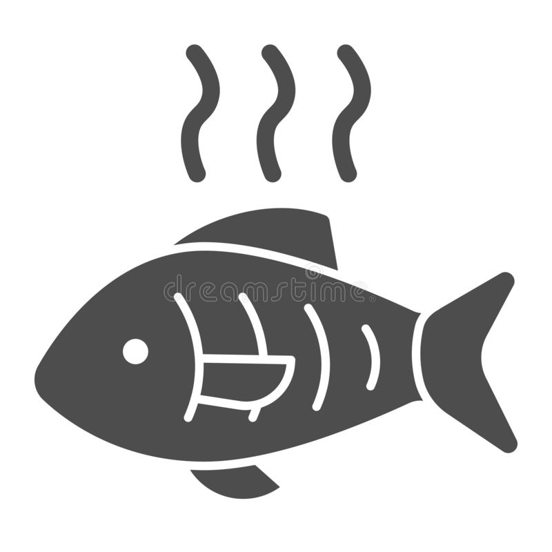 Hot fish solid icon. Grilled fish vector illustration isolated on white. Fry seafood glyph style design, designed for. Web and app. Eps 10 royalty free illustration
