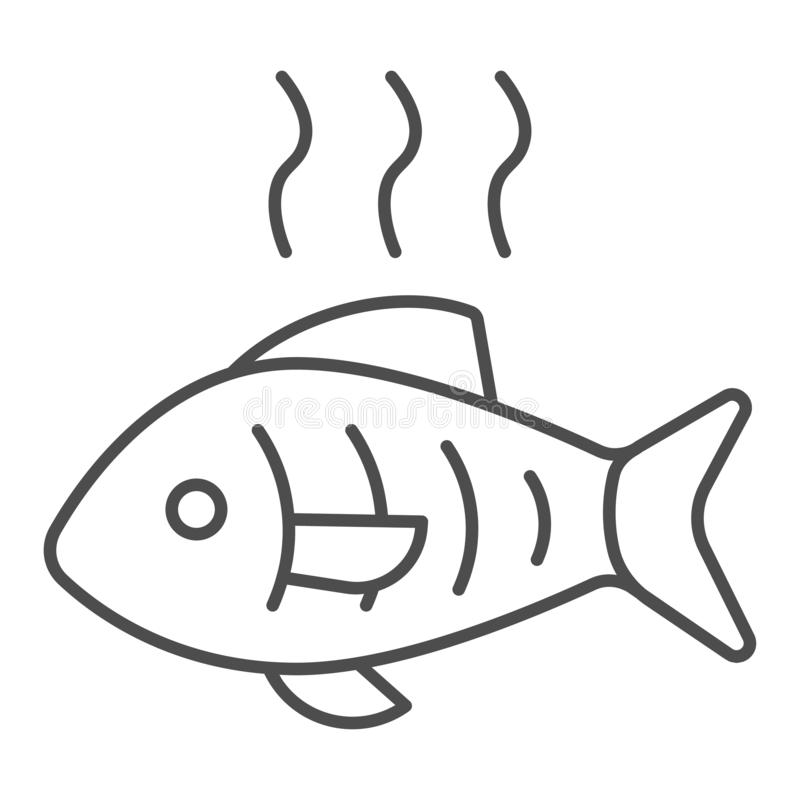 Hot fish thin line icon. Grilled fish vector illustration isolated on white. Fry seafood outline style design, designed. For web and app. Eps 10 royalty free illustration