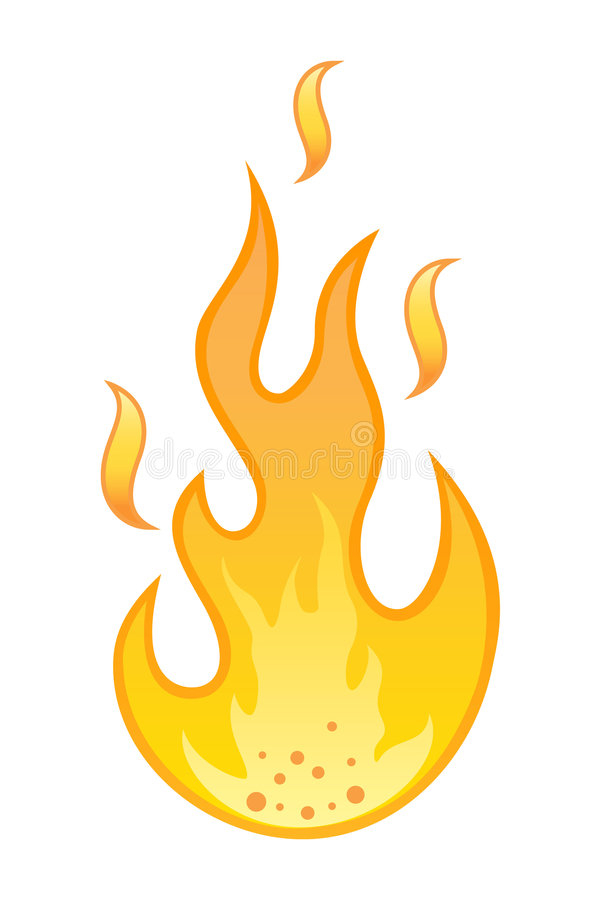 Hot Flame On White Background Royalty Free Stock Photos