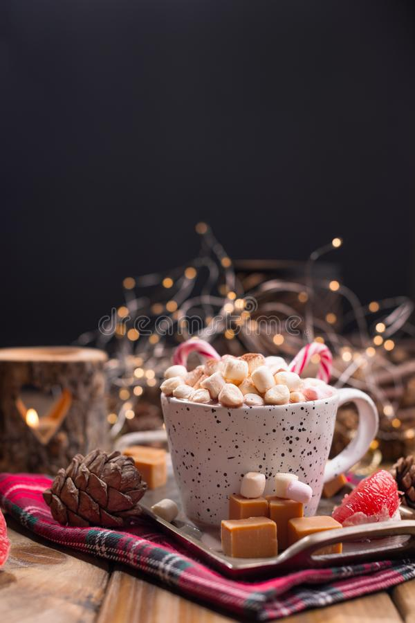 Hot flavored cocoa with marshmallows and caramel. Delicious Christmas drink in cold winter. Free space for text royalty free stock photo