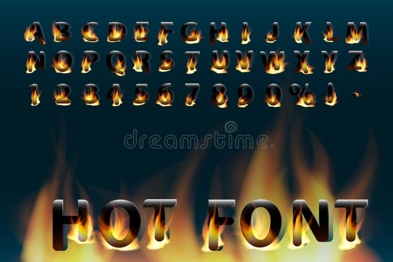 Hot font. Fiery letters and numbers. Alphabet. Fire burning vector font. royalty free illustration