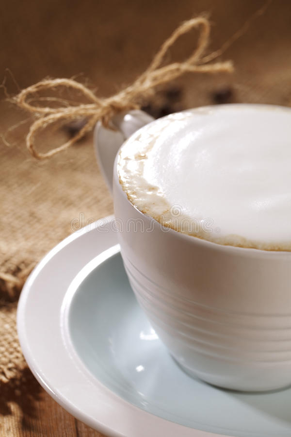 Hot Frothy Drink Cappuccino Coffee, Rustic Style Stock Images