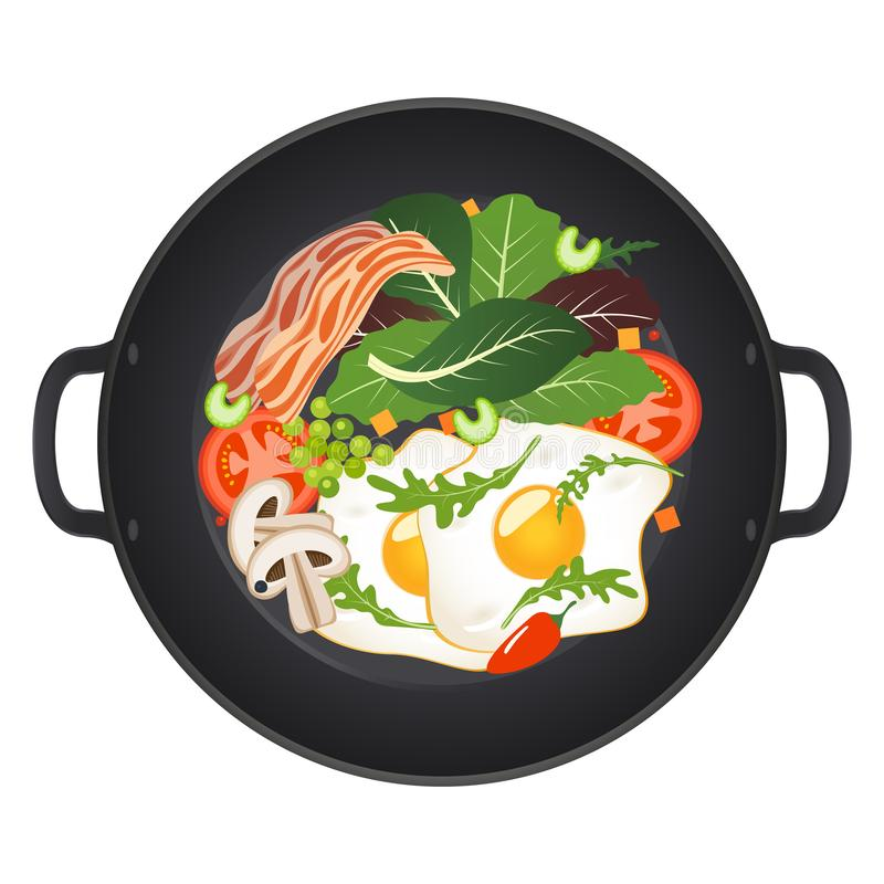 Hot frying pan with fried eggs, bacon, mushrooms, tomatoes and lettuce, top view. Isolated on white background. Vector. Illustration stock illustration