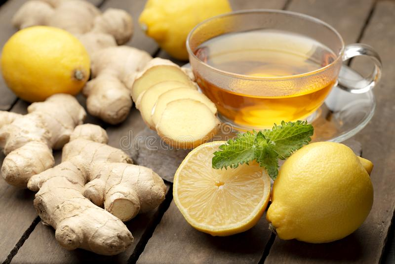 Hot ginger tea with lemon and honey royalty free stock photo
