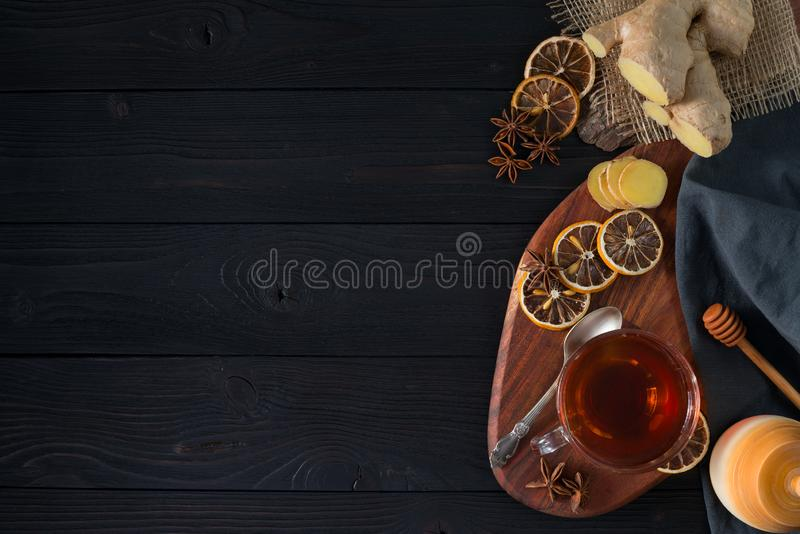 Hot ginger tea with lemon and honey stock photos