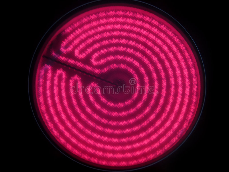 Hot glass ceramic cooktop burner flame stock images