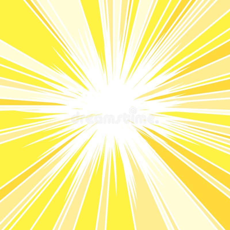 Hot and Glittering Summer Sun. Abstract Background of Sun Rays, Sunburst Background, Centered Yellow Orange Summer Sun Light Burst stock illustration