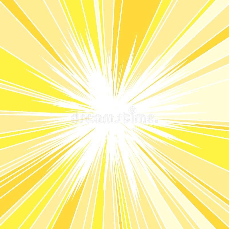 Hot and Glittering Summer Sun. Abstract Background of Sun Rays, Sunburst Background, Centered Yellow Orange Summer Sun Light Burst royalty free illustration