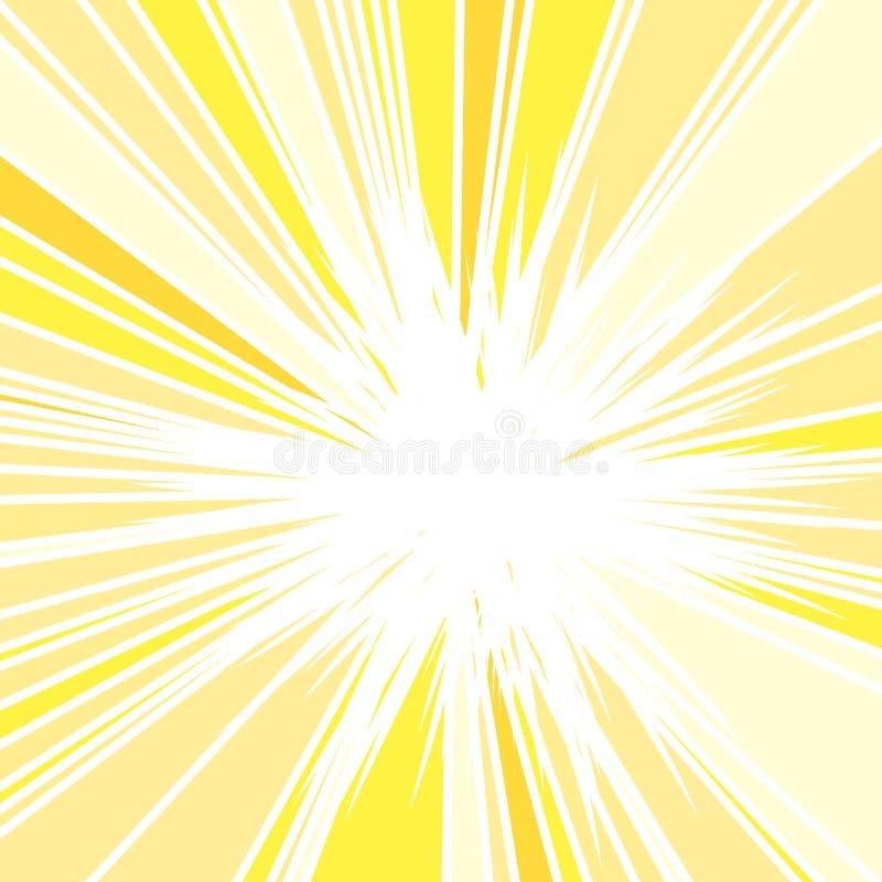 Hot and Glittering Summer Sun. Abstract Background of Sun Rays, Sunburst Background, Centered Yellow Orange Summer Sun Light Burst vector illustration