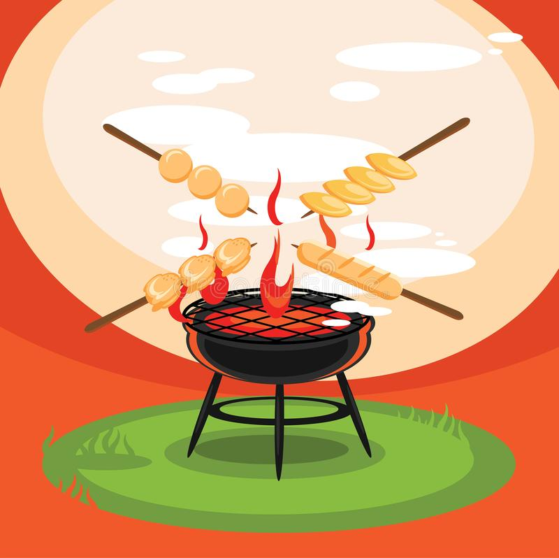 Hot grill backyard party illustration. Hot grill backyard party vector illustration royalty free illustration