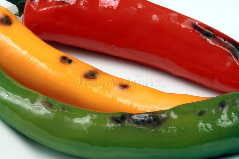 Hot grilled peppers royalty free stock images