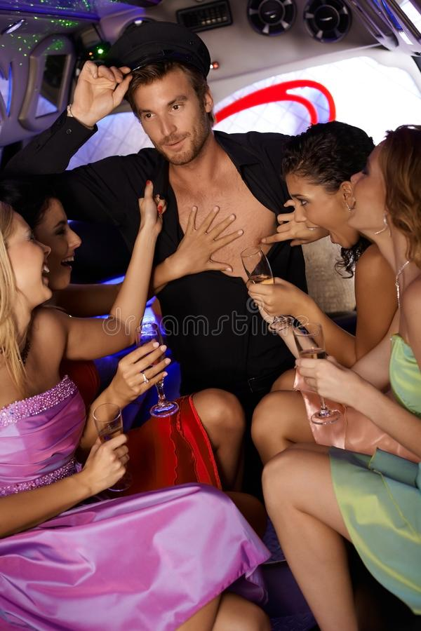 Hot Hen Party In Limousine Royalty Free Stock Images