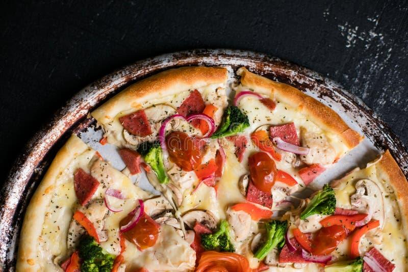 Hot italian pizza ready to eat. Hot Homemade italian Pizza Ready to Eat stock image