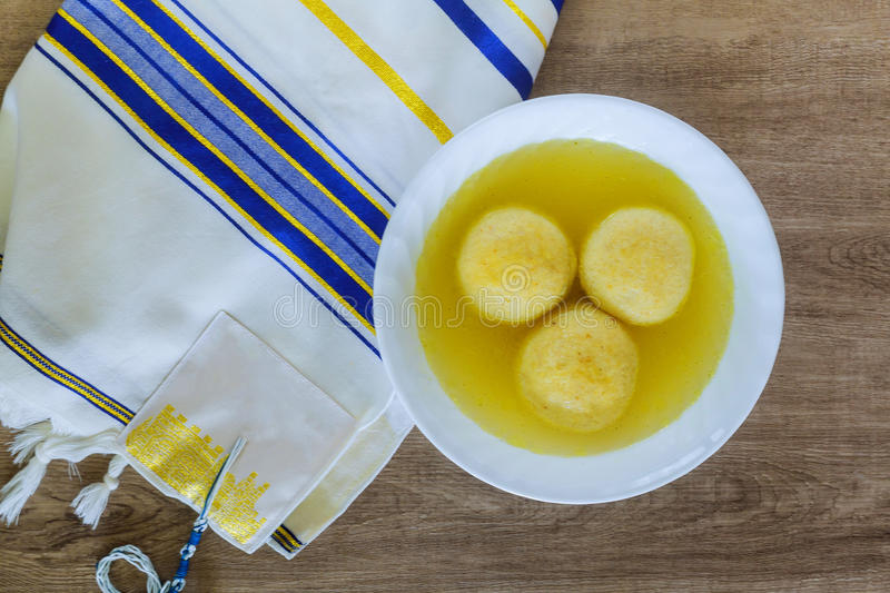 Hot Homemade Matzo Ball Soup in a Bowl stock images