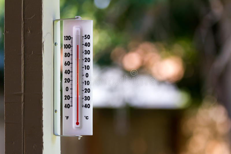 Hot Hot day. It's a warm day outside with the thermometer reacing above 100 degrees stock image