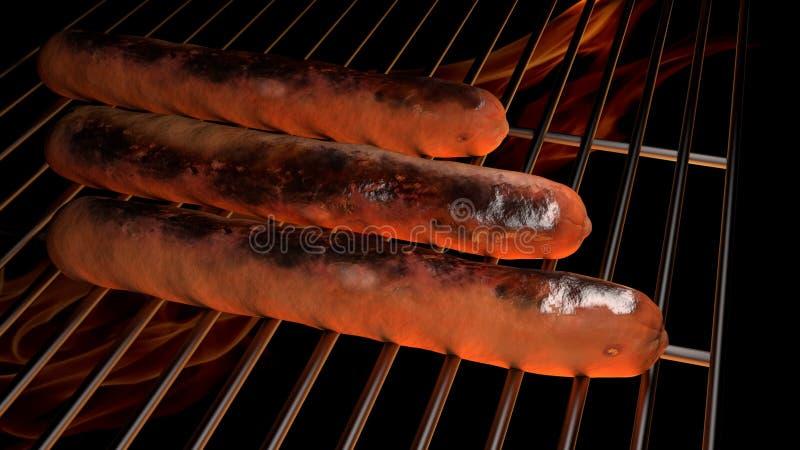 Hot Hund am Grill eines BBQ stockfotografie