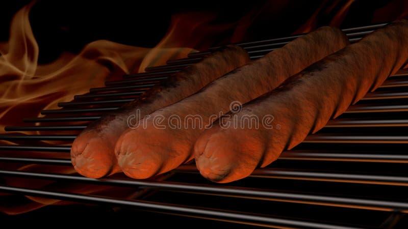 Hot Hund am Grill eines BBQ stockfoto