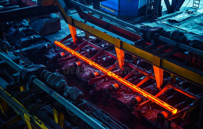 Hot ingot after molten steel casting stock photo
